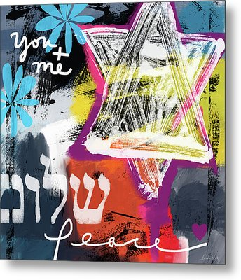 Contemporary Peace Star- Judaic Art By Linda Woods Metal Print