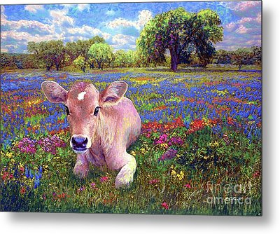 Contented Cow In Colorful Meadow Metal Print
