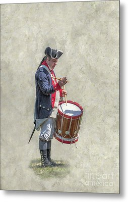 Metal Print featuring the digital art Continental Army Drummer American Revolution by Randy Steele