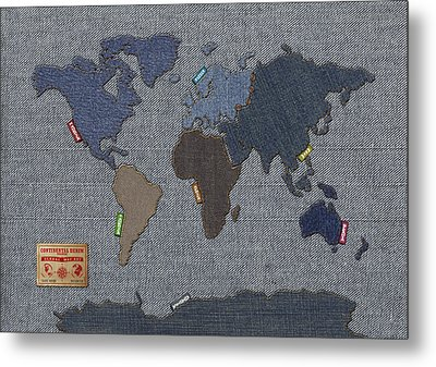 Continental Denim World Map Metal Print