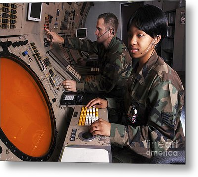 Control Technicians Use Radarscopes Metal Print