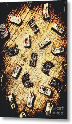 Controllers Of Retro Gaming Metal Print by Jorgo Photography - Wall Art Gallery
