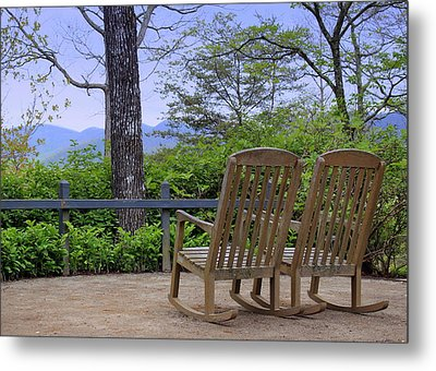 A Conversation Between Trees And Two Wooden Rocking Chairs Metal Print by Katharine Hanna