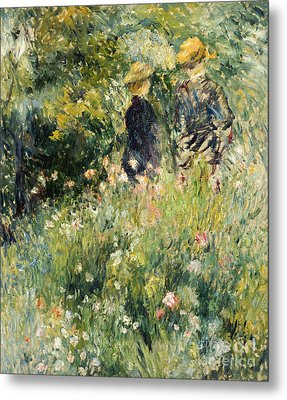 Conversation In A Rose Garden Metal Print by Pierre Auguste Renoir