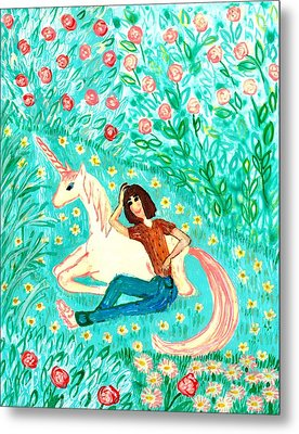 Conversation With A Unicorn Metal Print by Sushila Burgess