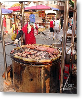 Metal Print featuring the photograph Cooking Meat And Eggs On A Huge Grill by Yali Shi