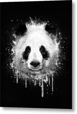 Cool Abstract Graffiti Watercolor Panda Portrait In Black And White  Metal Print by Philipp Rietz