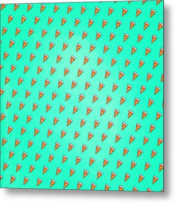 Cool And Trendy Pizza Pattern In Super Acid Green   Turquoise   Blue Metal Print