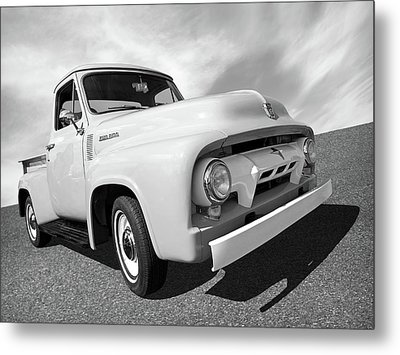 Cool As Ice - 1954 Ford F-100 In Black And White Metal Print by Gill Billington