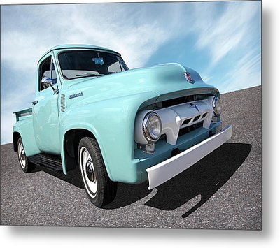Cool As Ice - 1954 Ford F-100 Glacier Blue Metal Print by Gill Billington