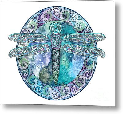 Metal Print featuring the mixed media Cool Celtic Dragonfly by Kristen Fox