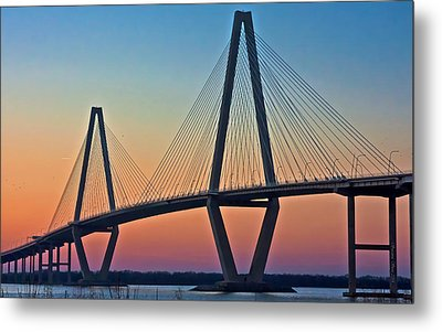 Cooper River Bridge Sunset Metal Print by Suzanne Stout