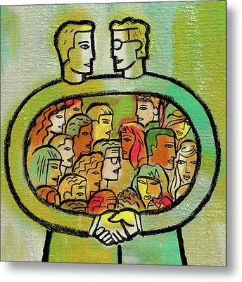 Cooperation And Support Metal Print by Leon Zernitsky