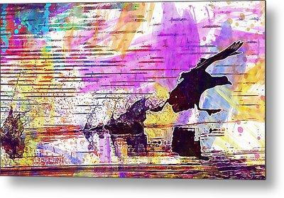 Metal Print featuring the digital art Coot Bird Water Bird  by PixBreak Art
