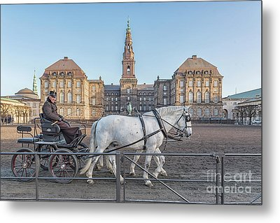 Metal Print featuring the photograph Copenhagen Christianborg Palace Horse And Cart by Antony McAulay
