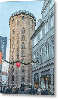 Metal Print featuring the photograph Copenhagen Round Tower Street View by Antony McAulay