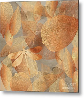 Copper Forest, Leaves And Dragonfly, Nature And Garden Art Metal Print