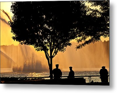 Cops Watch A Fireboat On The Hudson River Metal Print by Chris Lord