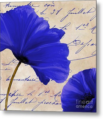 Coquelicots Bleue II Metal Print by Mindy Sommers