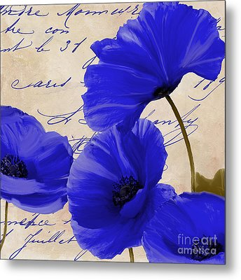 Coquelicots Bleue Metal Print by Mindy Sommers