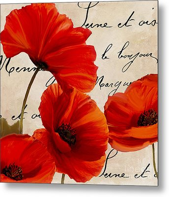 Coquelicots Rouge I Metal Print by Mindy Sommers