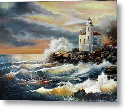 Coquille River Lighthouse At Hightide Metal Print