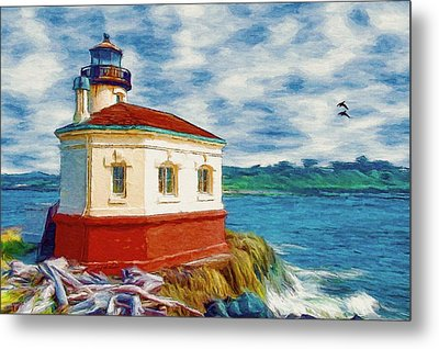 Metal Print featuring the painting Coquille River Lighthouse by Jeff Kolker