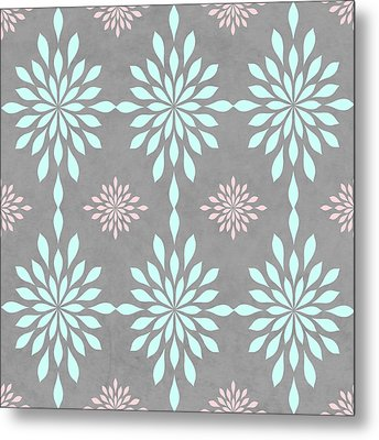 Coral And Turquoise Gray Metal Print