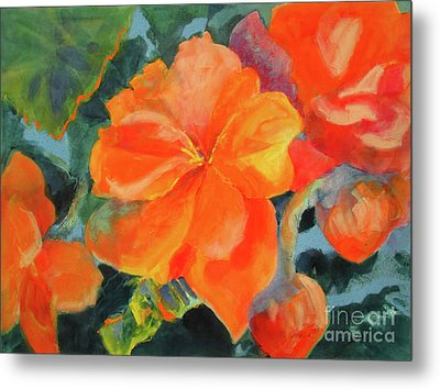 Metal Print featuring the painting Coral Begonias by Kathy Braud