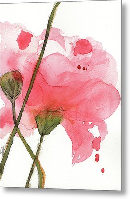 Metal Print featuring the painting Coral Poppies by Dawn Derman