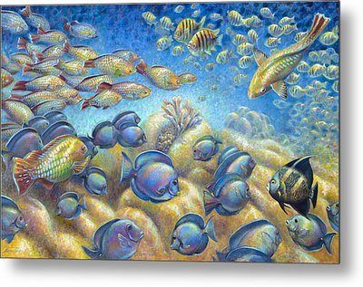 Metal Print featuring the painting Coral Reef Life Silvers by Nancy Tilles