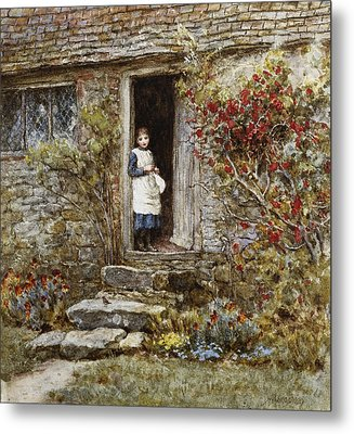 Corcorus Japonica Metal Print by Helen Allingham