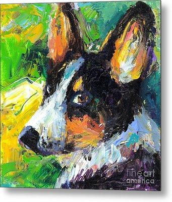 Corgi Dog Portrait Metal Print