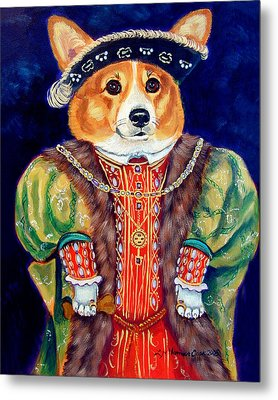 Corgi King Metal Print by Lyn Cook