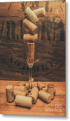 Corks Balanced On An Empty Champagne Flute Metal Print by Jorgo Photography - Wall Art Gallery