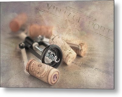 Corkscrew And Wine Corks Metal Print by Tom Mc Nemar