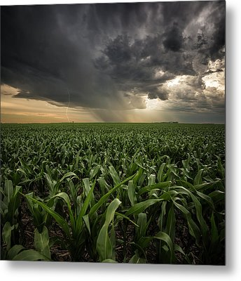 Metal Print featuring the photograph Corn And Lightning by Aaron J Groen
