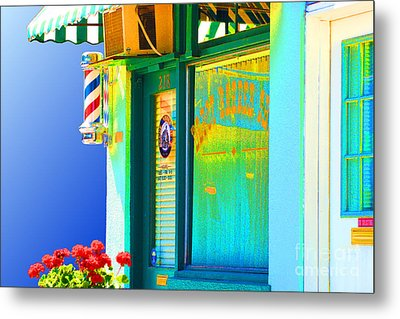 Corner Barber Shop Metal Print by Noel Zia Lee