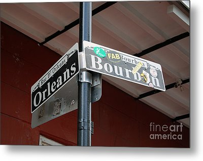 Corner Of Bourbon Street And Orleans Sign French Quarter New Orleans Metal Print by Shawn O'Brien