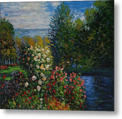 Metal Print featuring the painting Corner Of The Garden At Montgeron by Claude Monet