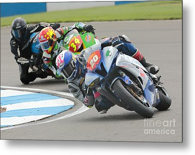 Cornering Motorcycle Racers Metal Print by Peter Hatter
