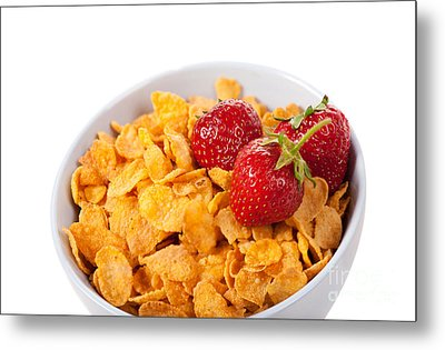 Cornflakes And Three Fresh Strawberries In Bowl  Metal Print