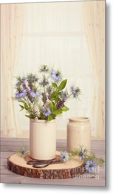 Cornflowers In Ceramic Pots Metal Print
