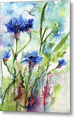 Cornflowers Korn Blumen Watercolor Painting Metal Print by Ginette Callaway