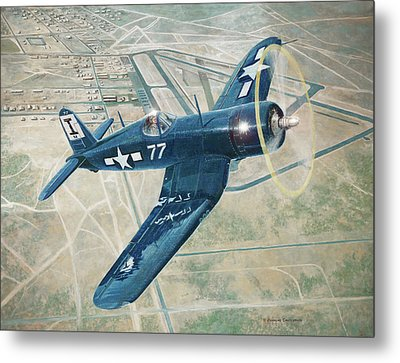 Corsair Over Mojave Metal Print by Douglas Castleman