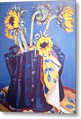 Corset And Sunflowers Metal Print