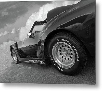 Metal Print featuring the photograph Corvette Daytona In Black And White by Gill Billington