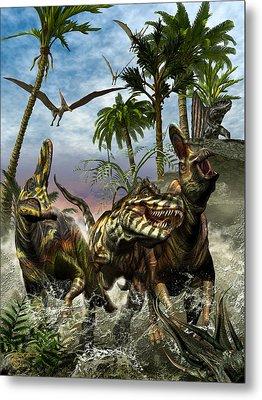 Corythosaurus Last Run Metal Print by Kurt Miller
