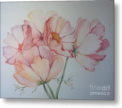 Metal Print featuring the painting Cosmea by Iya Carson