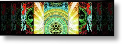 Metal Print featuring the mixed media Cosmic Collage Mosaic Right Side Mirrored by Shawn Dall